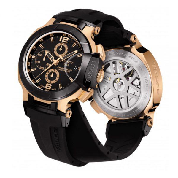 Montre Tissot T-Race Chronograph automatic cadran noir bracelet silicone noir 45 mm - T0484272705701