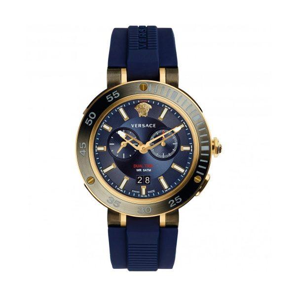 Versace Montre Homme Bracelet Silicone Bleu - VCN010017