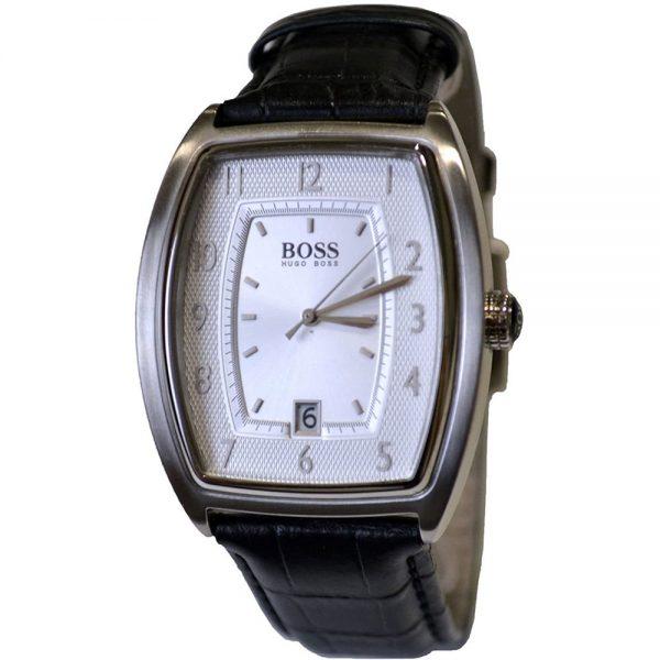 Hugo Boss montre pour homme Noir Bande de cuir Blanc visage - 1512217