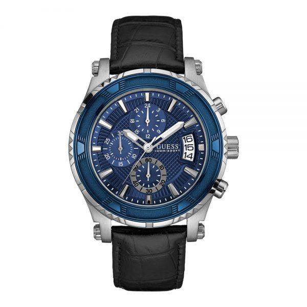 GUESS, pour Homme, Cadran Bleu, Bracelet Cuir - W0673g4