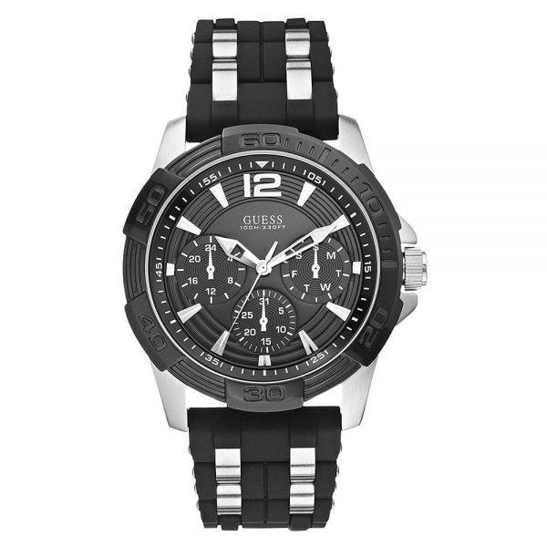 Montre GUESS pour homme avec boîtier argenté et bracelet en silicone noir - W0366G1