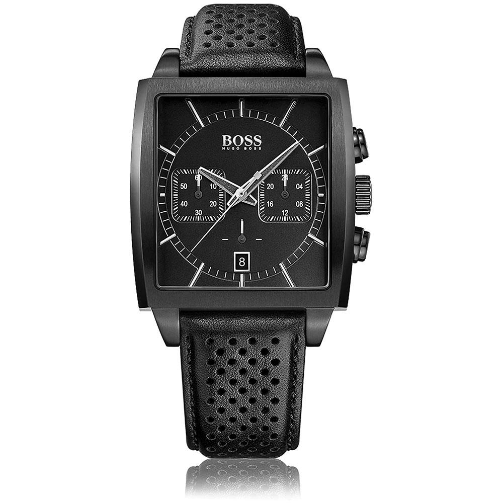 HUGO BOSS montre pour homme Bracelet en cuir noir - 1513357