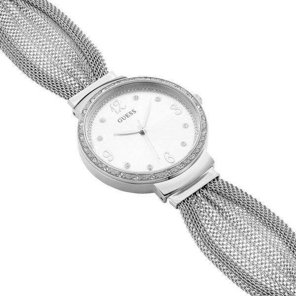 Guess Montre Femme Analogique Chiffon avec Bracelet en Acier Inoxydable - W1083L1