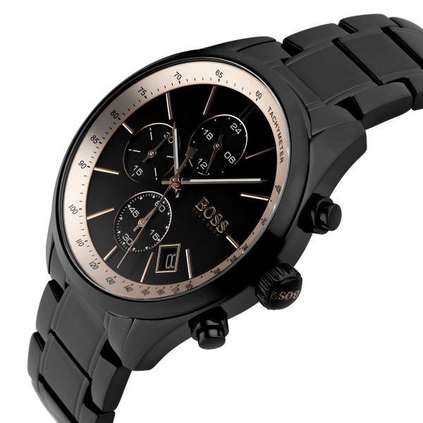 Hugo Boss Grand Prix Montre pour homme en acier inoxydable, noir 44 mm - 1513578