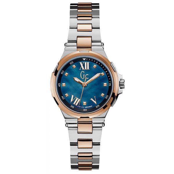 Montre GC - Structura Bicolore Acier Dorée Rose Cadran Bleu Femme - Y33001L7