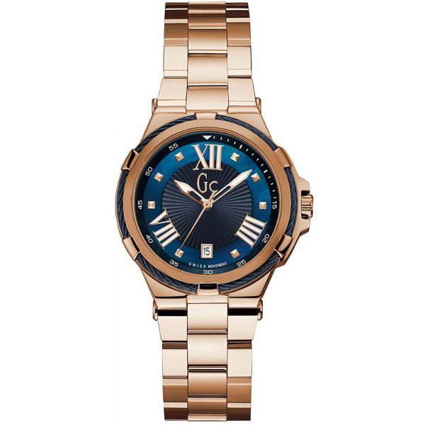 Montre GC - Montre Structura Cable Acier Doré Rose Cadran Bleu Femme - Y34009L7