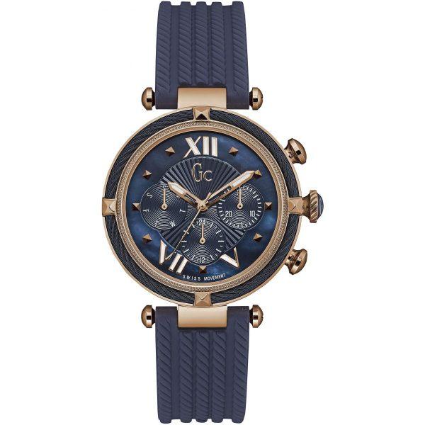 Montre GC Gc LadyChic - Montre Chronographe Silicone Bleue Femme - Y16005L7