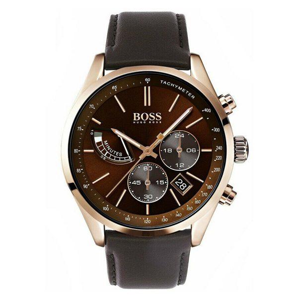 HUGO BOSS Grand Prix montre pour homme Chronographe cuir marron bracelet - 1513605