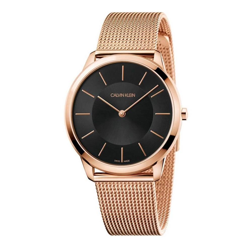CALVIN KLEIN montre pour homme bracelet en maille à cadran noir minimal - K3M2162Y