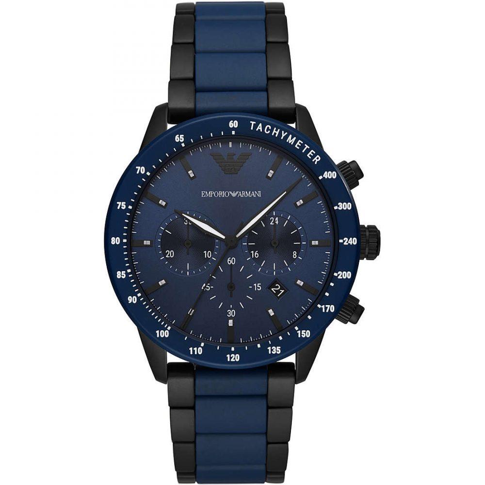 EMPORIO ARMANI montre chronographe bicolore en acier inoxydable et céramique pour homme - AR70001